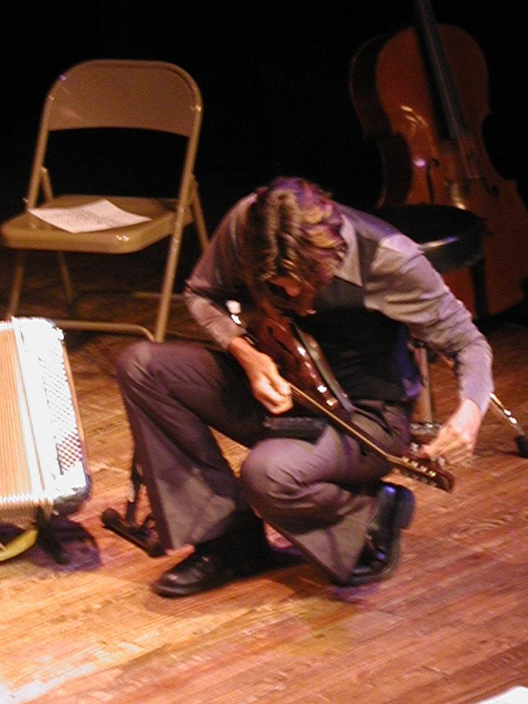 matt tuning the mandolin